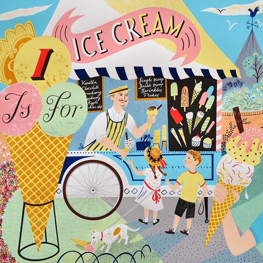 Contemporary Artists - Emily Sutton Screenprint - i is for ice cream