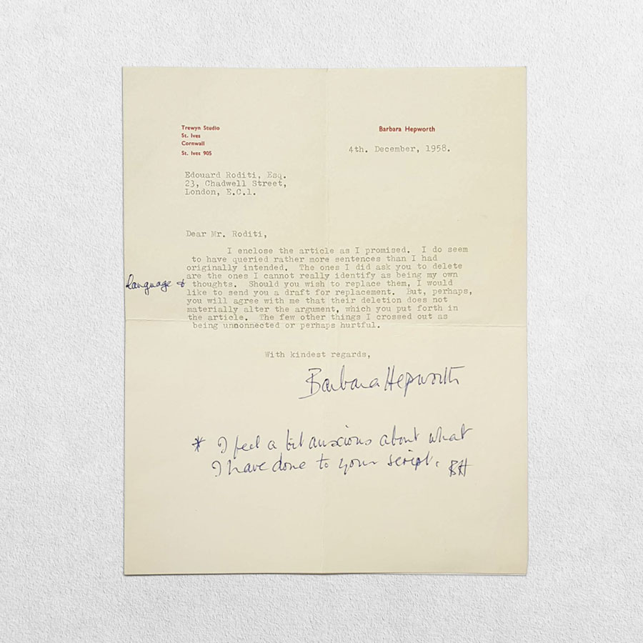 Barbara Hepworth Typed Letter Signed To Edouard Roditi, 4th December, 1958