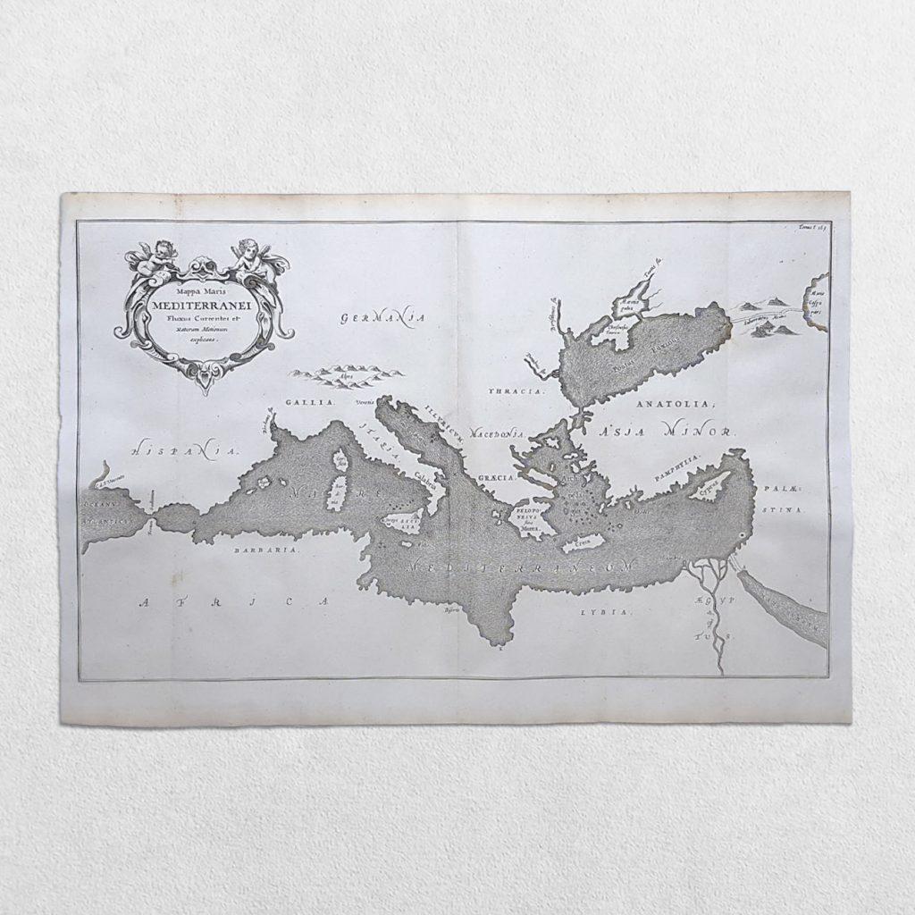 Mediterranean Sea- Mappa Maris Mediterranei Fluxus Currentes Et Naturum Motionum Explicans