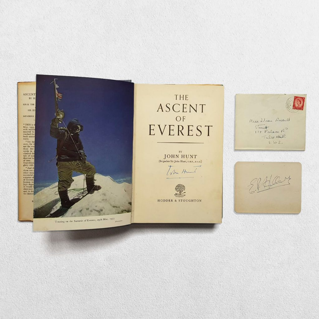 The Ascent Of Everest Signed By John Hunt - inside with letter